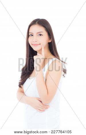 Portrait Of Beautiful Asian Woman Makeup Of Cosmetic, Girl Hand Touch Cheek And Smile Attractive, Fa