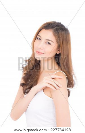 Portrait Of Beautiful Asian Woman Makeup Of Cosmetic, Beauty Of Girl With Face Smile Attractive Isol