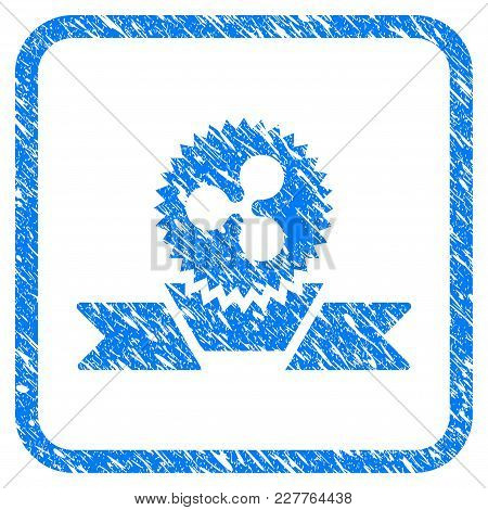 Ripple Award Ribbon Rubber Seal Stamp Watermark. Icon Vector Symbol With Grunge Design And Dirty Tex
