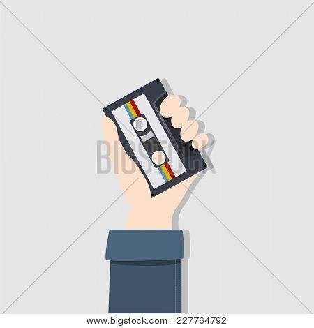 Illustration of hand holding tape