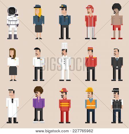 Illustration set of men and professions