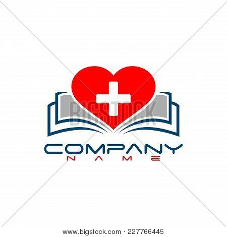 Creative Book Lover Vector Logo. Book And Heart Logo, Book Store And Library Vector Logo Design. Lea