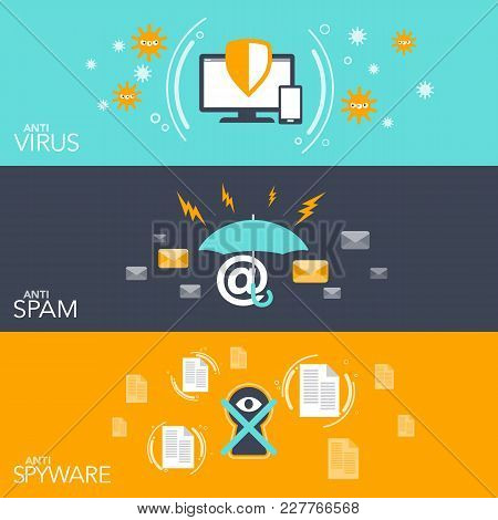 Vector Illustration Concept Hacker Three Flat Banner Set With Hacking Anti Virus Email Spam And Spyw