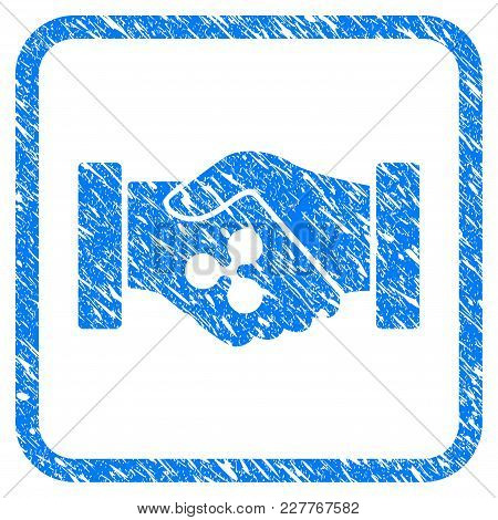 Ripple Contract Hands Rubber Seal Stamp Watermark. Icon Vector Symbol With Grunge Design And Dust Te