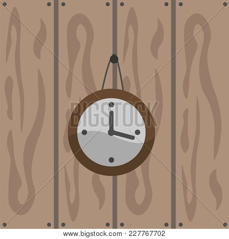 Vector Drawing Of A Wall Clock. Graphics Clock On A Brown Wooden Background. A Figure Of Round Watch