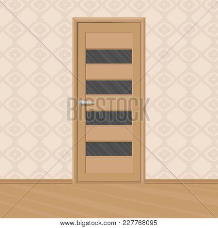Cartoon Brown Wooden New Door With Door's Glass Frames In A Room. Home Interior. Vector Illustration