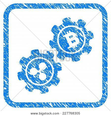 Ripple Bitcoin Gears Rubber Seal Stamp Watermark. Icon Vector Symbol With Grunge Design And Unclean