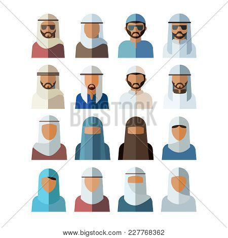 Set Of Arabic People Avatars. Avatar Flat Design Icons, Isolated On A White Background. . Vector Ill