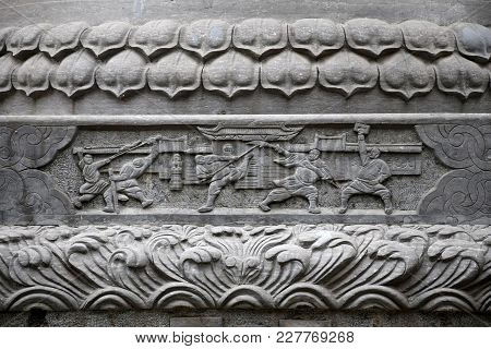 The Detail Of Stone Carving At Shaolin Monastery In Henan Province In China