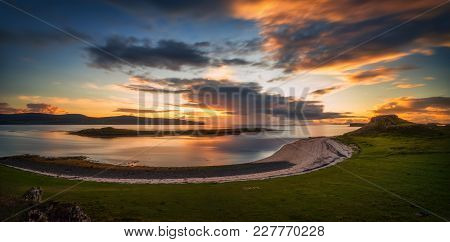 Coral Beach Of Dunvegan Panorama In Colorful Sunset, Isle Of Skye, Scotland