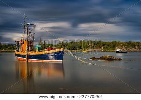Abandoned Fish Cutter In Ardvasar Harbour, Isle Of Skye, Scotland