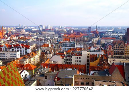 Panorama Of Wroclaw, View Of The Center, New And Old Buildings, Bird's-eye View