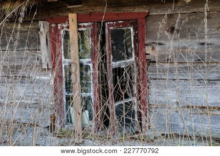 Old Farm And Wooden House, Window, Door In An Old Country House.