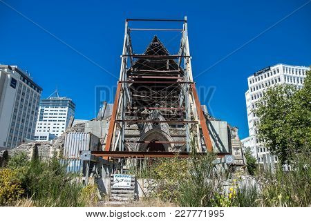 Ruined cathedral after earthquake, Christchurch, New Zealand