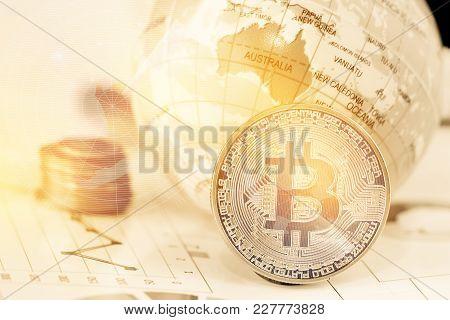 Bitcoin Digital Currency, Modern Of Exchange Digital Money Near Global Model Australia Map With Rada