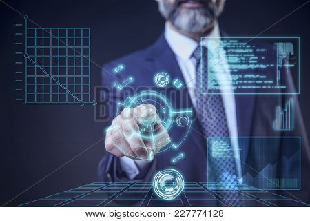 Virtual Trading, Stock And Commerce - Senior Elderly Business Man Choosing From A Futuristic Interfa