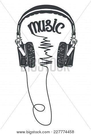 Headphones T-shirt Graphic, Tee Print Poster. Listen To Music Typography. Vector