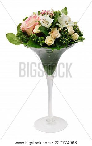 Greeting Bouquet Of Rose Bush, Alstroemeria, Bouvardia And Salal In Glass Vase Isolated On A White B