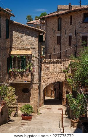Medieval Houses And Arch In The Historic Center Of Montone, A Small Town In The Umbria Countryside I