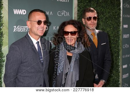 LOS ANGELES - FEB 20:  Steven Kolb, Diane von Furstenberg, Nathan Jenden at the CFDA Variety and WWD Runway to Red Carpet at Chateau Marmont Hotel on February 20, 2018 in West Hollywood, CA