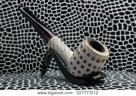 Biliard Smoking Tobacco Pipe Made From Sea Foam Meershaum Mineral Sepiolite Against The Background O