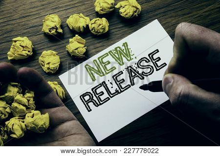 Word, Writing New Release . Concept For Technology Software Update Written On Notebook Note Paper On