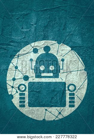 Cute Vintage Robot. Robotics Industry Relative Image. Round Icon With Texture From Connected Lines W