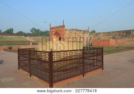 Agra India - October 23, 2017: Agra Fort Historical Architecture Stone Carving Display Agra India
