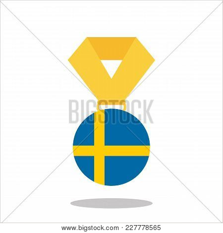 Medal With The Sweden Flag Isolated On White Background - Vector Illustration.
