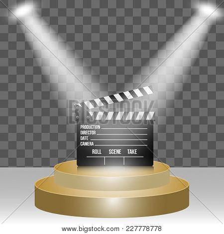 Round Stage Podium Scene Illuminated With Light  For Award Ceremony Best Movie On Transparent Backgr