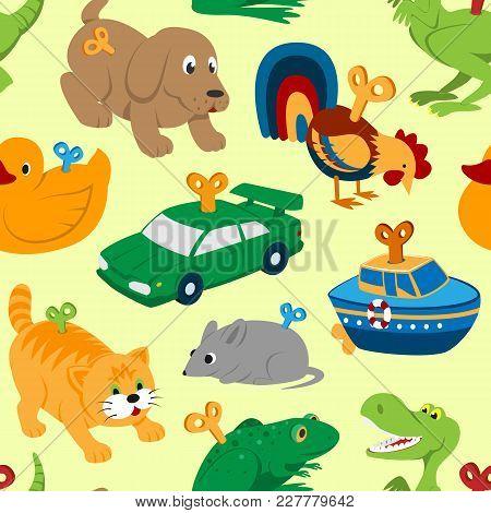 Kids Vector Toys Clockwork Key Mechanism Mechanic Cartoon Animals In Toyshop For Child Clock Work Ca