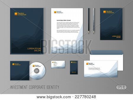 Corporate Identity Template For Investment Company, Modern Stationery Template Design Stylized With