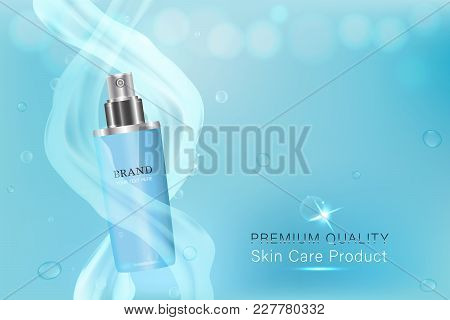 Blue Cosmetic Container With Advertising Background Ready To Use, Luxury Skin Care Ad. Illustration