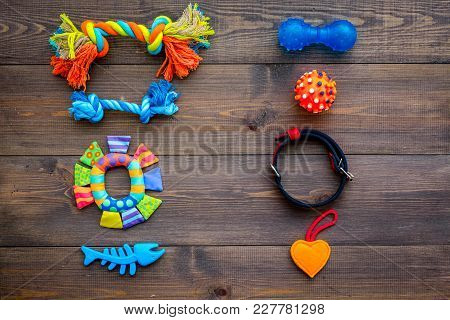 Pet Accessories. Toys Near Collar On Dark Wooden Background Top View.