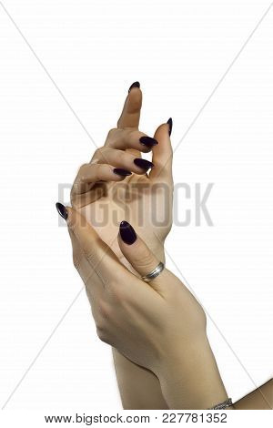 Hands Of A Young Girl On A White Background