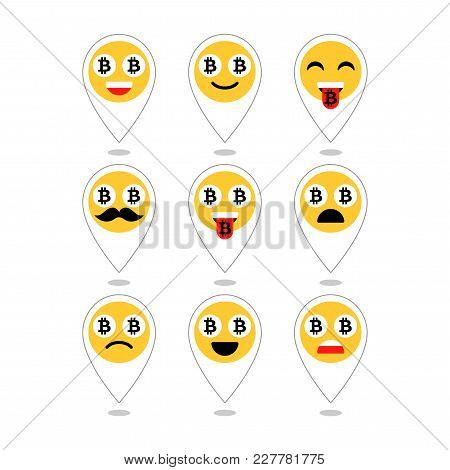 Bitcoin Emoji, Emoticons Or Smile. Emotional Icons And Signs Isolated. Vector Illustration