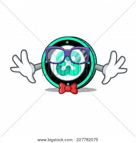 Geek Ethos Coin Character Cartoon Vector Illustration