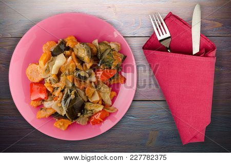 Vegetable Stew On A Wooden Background. Stew In Bulgarian