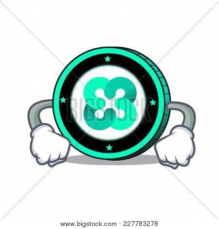 Angry Ethos Coin Mascot Cartoon Vector Illustration