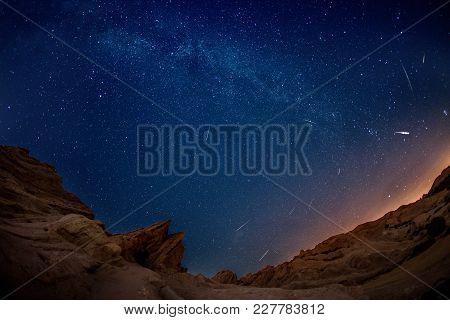 Mesmerizing Perseid Meteor Shower At Unique Landscape Anomaly Vasquez Rocks On August 11 2016