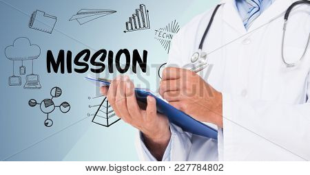 Digital composite of Doctor mid section with clipboard against mission doodles and blue background