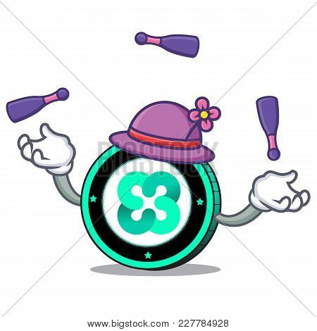 Juggling Ethos Coin Mascot Cartoon Vector Illustration
