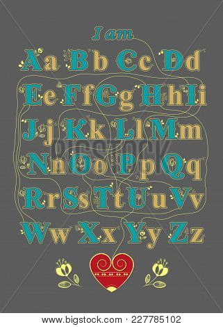 Artistic Alphabet With Encrypted Romantic Message - I Am In Love With You. Yellow And Blue Letters W