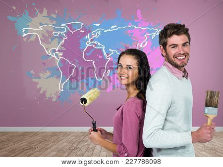 Digital composite of Couple painting a Colorful Map with paint splattered wall background