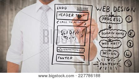 Digital composite of Business man with marker and website mock up against blurry wood panel