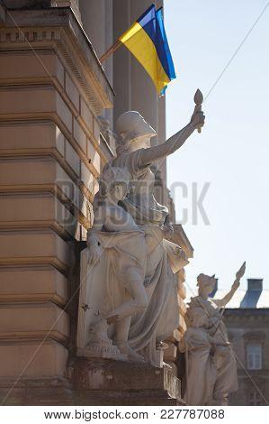 Allegorical Sculpture Composition Education On Facade Of Ivan Franko National University Main Buildi