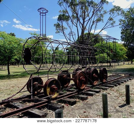Chidlow, Western Australia-december 28, 2017:  A Wrought Iron Skeleton Of A Railway Engine In A Park