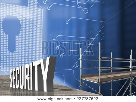 Digital composite of Security Text with 3D Scaffolding and lock interface