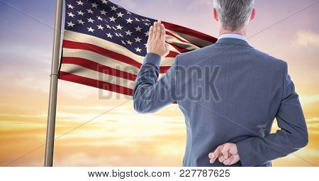 Digital composite of pledge allegiance to the flag with the fingers crossed