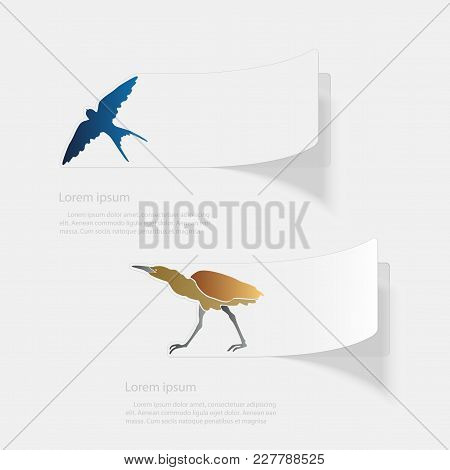 Birds. Flat Sticker With Shadow On White Background. Vector Illustration